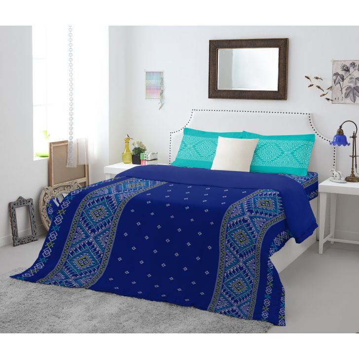 Spaces Allure Blue Cotton Double Bed Sheet With 2 Pillow Covers