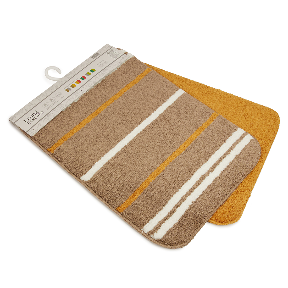 Set of 2 Bathmats Beige Mustard Bath Mats in Beige Mustard Colour by Living Essence