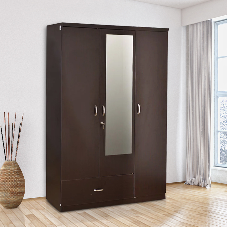 Utsav Engineered Wood Three Door Wardrobe in Wenge Colour by HomeTown
