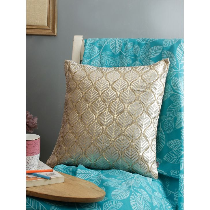 Silk Route  Cushion Cover 16X16 CM in Silver Colour by Living Essence