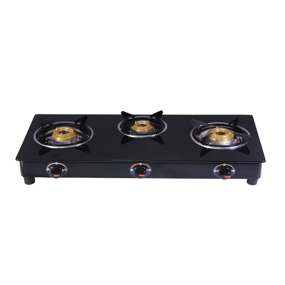 Ultima Glass Three Burner Cooktop in Black Colour by Wonderchef