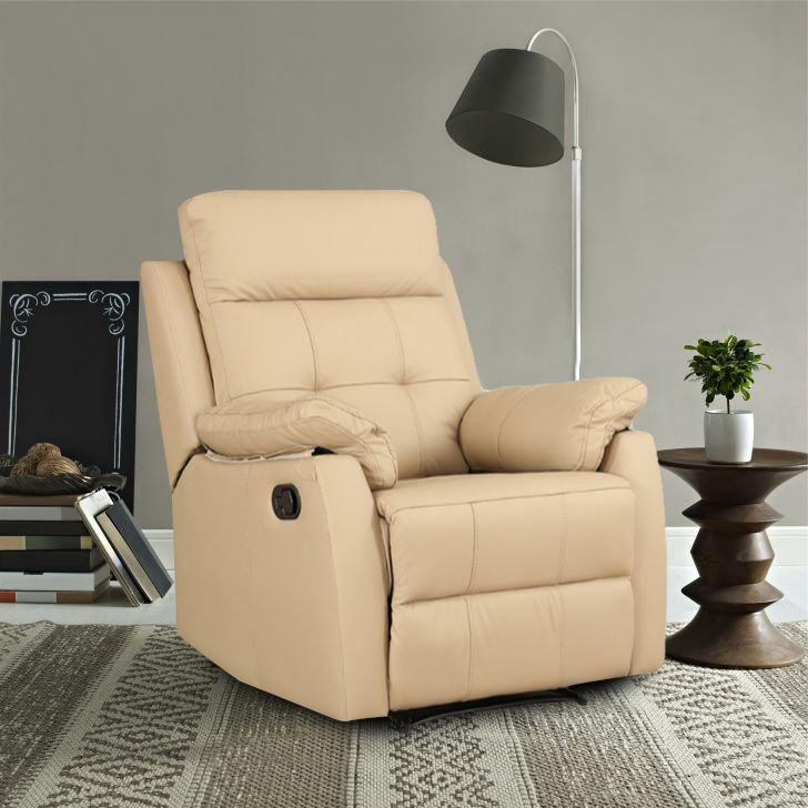 Valmont Half Leather Single Seater Recliner in Taupe Colour by HomeTown