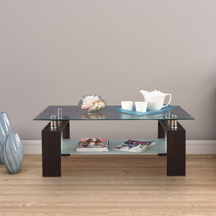 Giles Glass Center Table in Walnut Colour by HomeTown