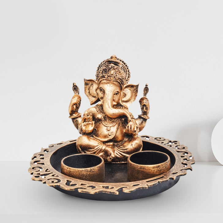 Grace Ganesh Round Tray with teal light Polyresin Idols in Gold Colour by Living Essence