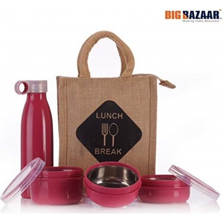 EcoSteel Lunch box with jute bag Plastic Insulated LunchPacks in Multi Colour by Amson