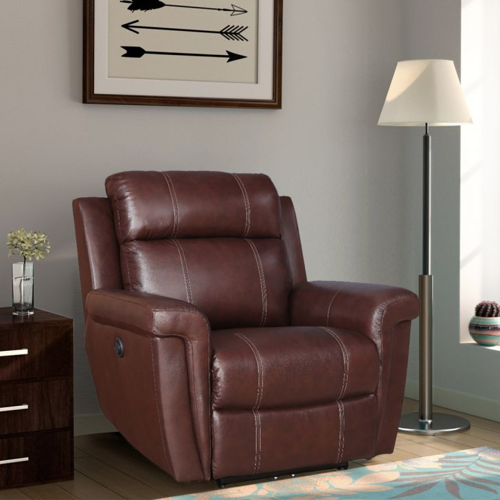 Gatwick New Leatherette Single Seater Recliner in Dark Brown Colour By Hometown