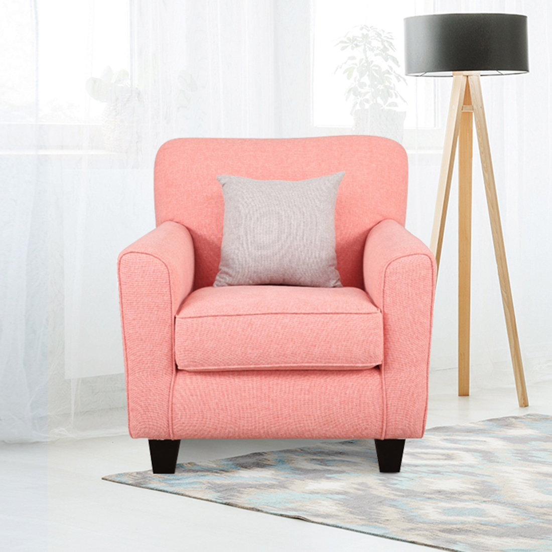 Cadence Fabric Single Seater Sofa in Coral Colour by HomeTown