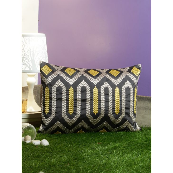 Modern Allure Polyester Cushion Covers in Blue Colour by Living Essence