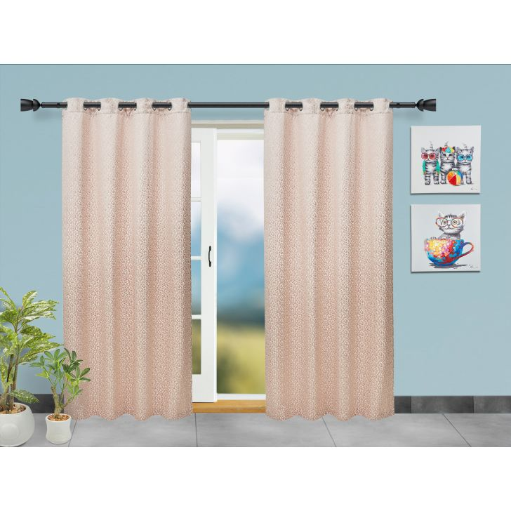 Set of 2 Polyester Door Curtains in Beige Colour by Living Essence