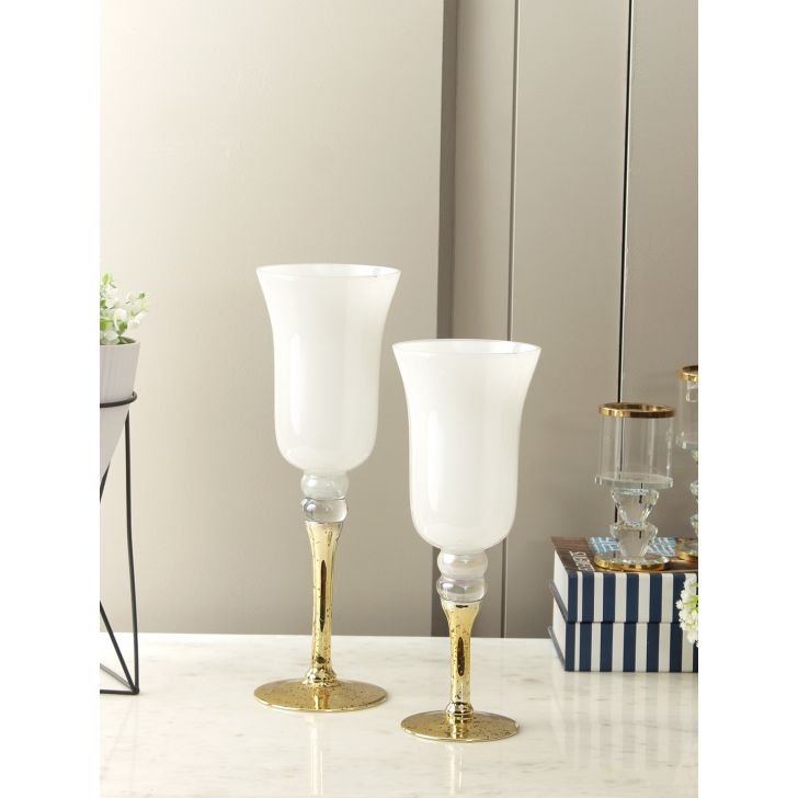 Claire Glass Set Of 2 Candle Holder in Rainbow Lusture Colour by Living Essence