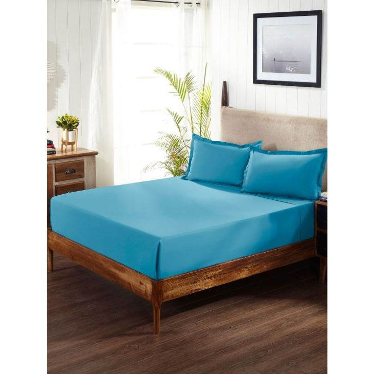 Portico New York Percale Queen Bedsheet in Peacock Blue Color by Portico