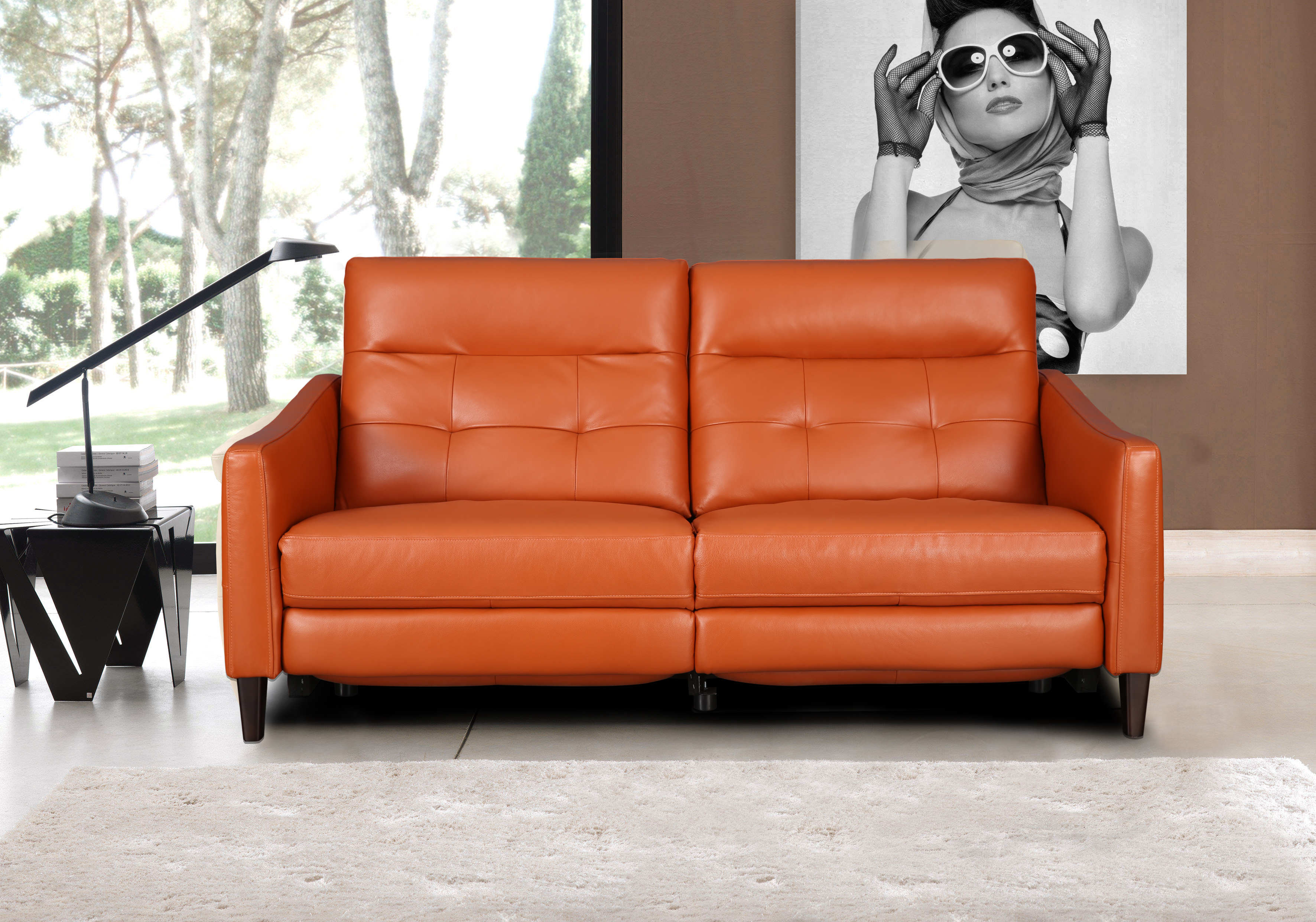 Hilton Half Leather Three Seater Recliner in Tan Colour by HomeTown