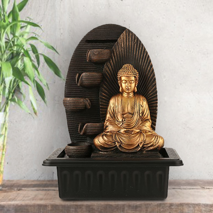 Impression Buddha Ray Pot Polyresin Small Fountains in Brown/Gold Colour by Living Essence