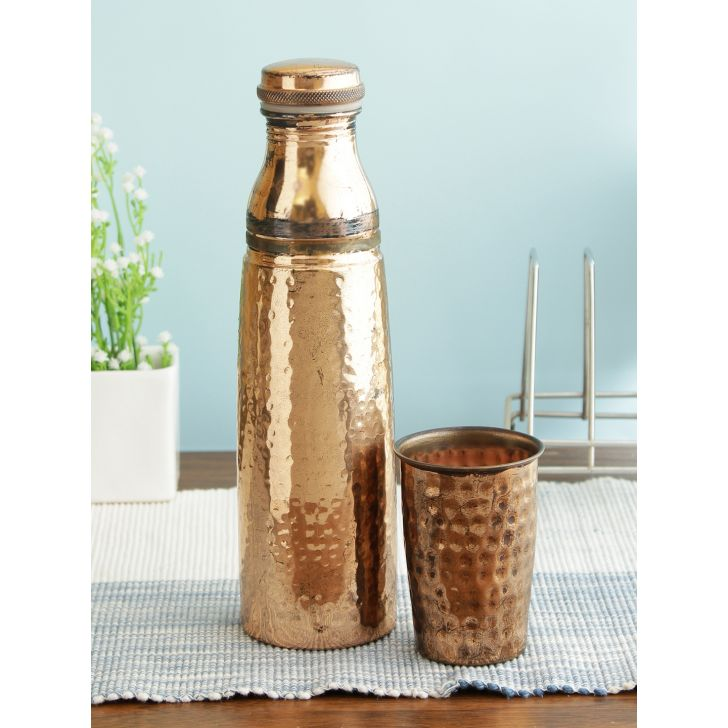 Hammered Copper Bottle with Glass 1 Ltr in Copper Colour