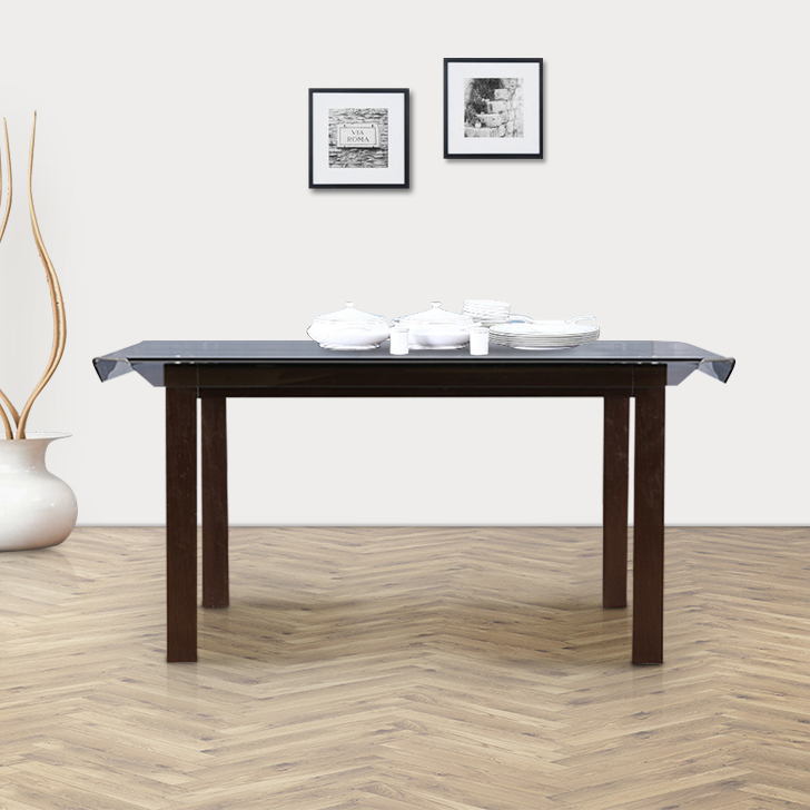 Bentley Stainless steel Six Seater Dining Table in Dark Walnut Colour by HomeTown