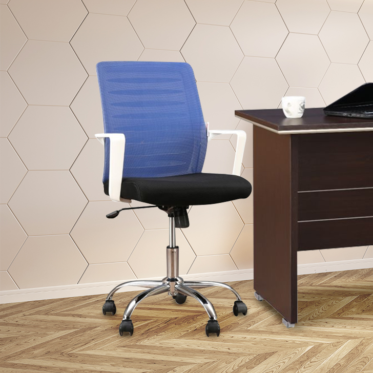 Marina Fabric Office Chair in Black & Blue Colour by HomeTown