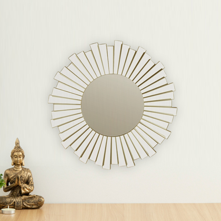 Mirage Swirl Border Mirror Mirror Wall Accents in Gold Colour by Living Essence