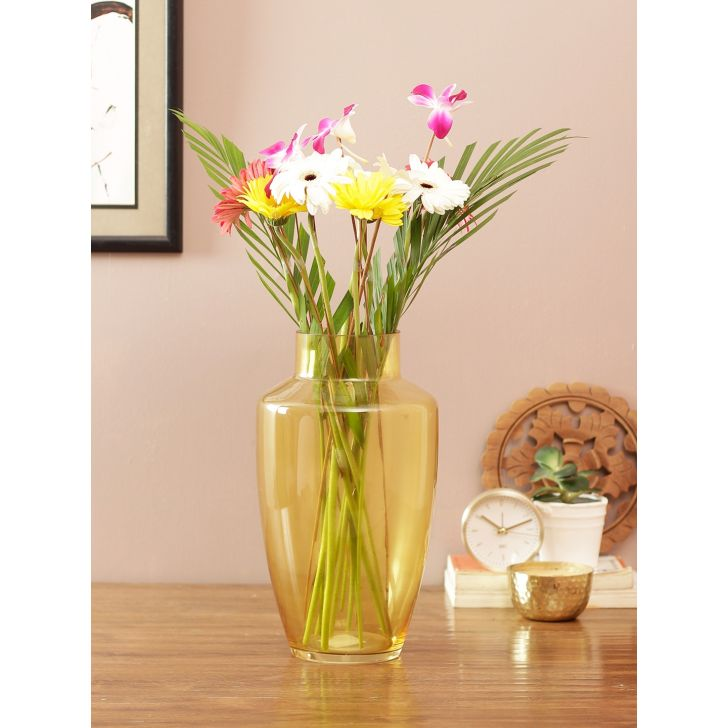 Eva Modern Tall Glass Vase Yellow Glass Vases in Yellow Colour by Living Essence