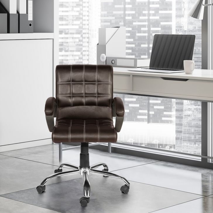 Cheks Leatherette Low Back Chair in Brown Colour