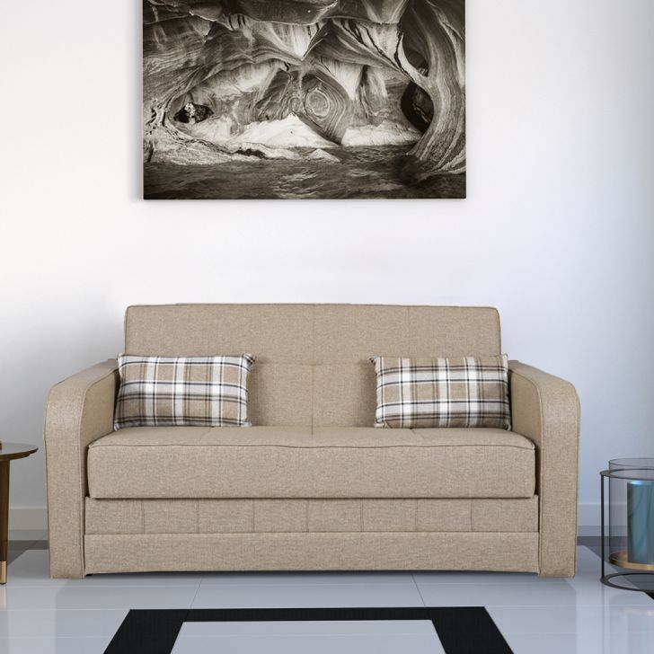 Caroline Solid Wood Sofa cum Bed in Beige Colour by HomeTown