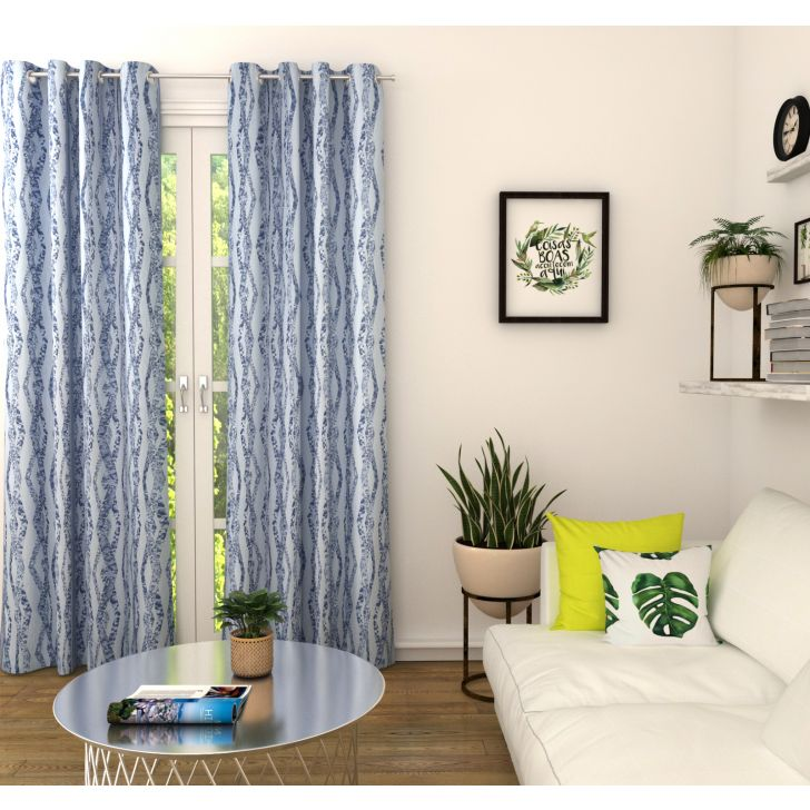 Amour Jacquard Set of 2 Door Curtain in Navy Colour