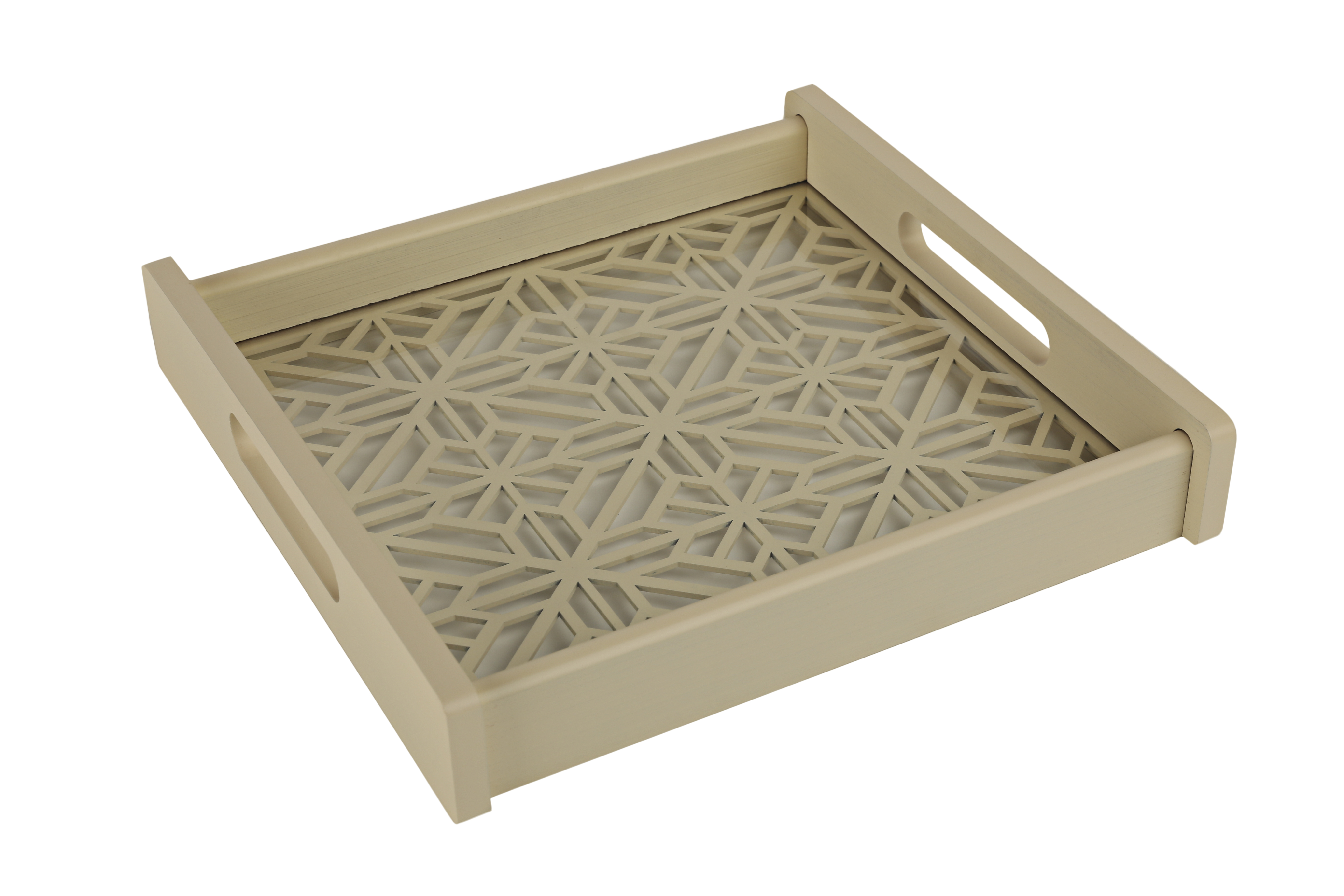Cut Work Cut Tray Timber Wood Trays in Offwhite Colour by Living Essence