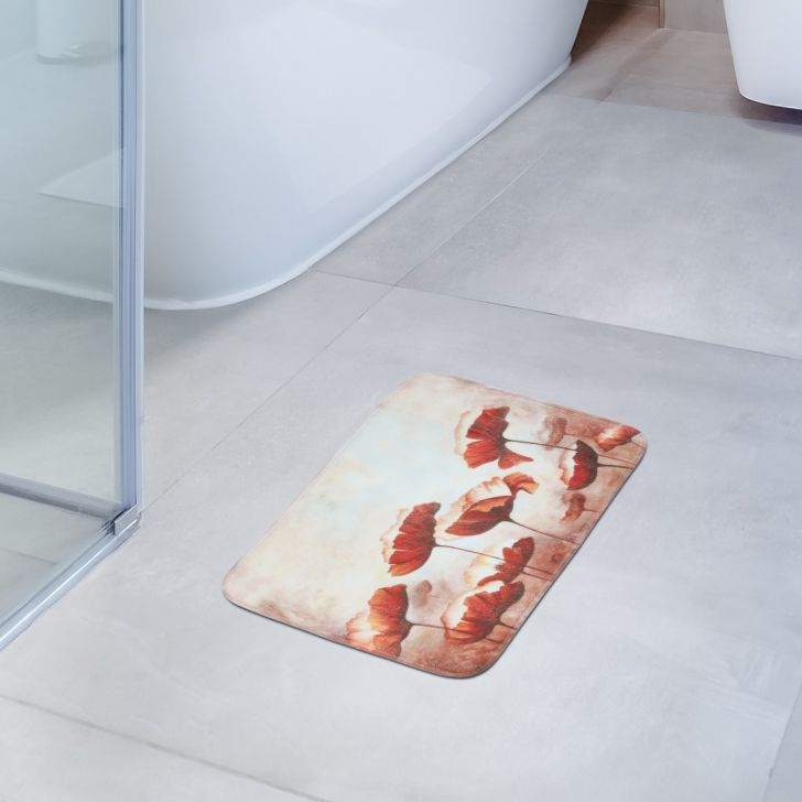 Fiesta Set of 2 Polyester Bath Mats in Rust Colour by Living Essence