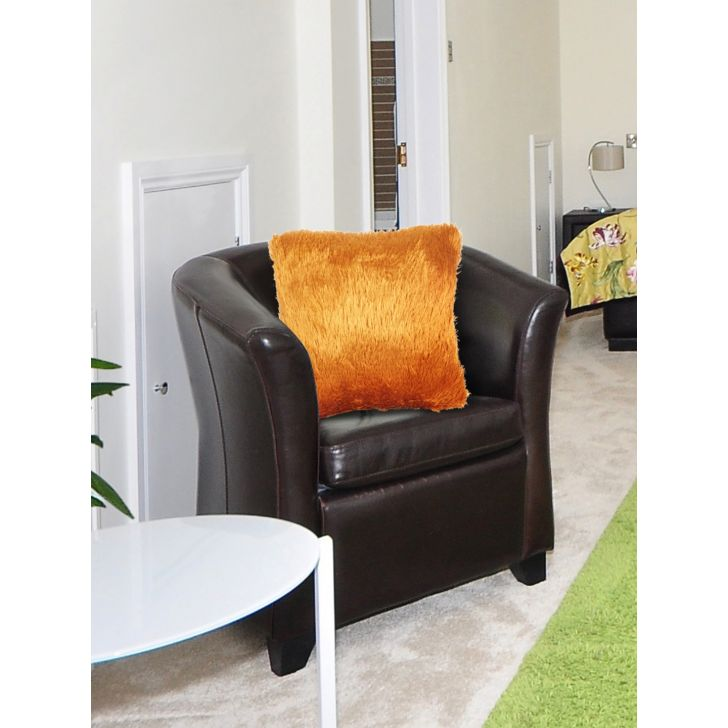 Fluffy Polyester Filled Cushions in Gold Colour