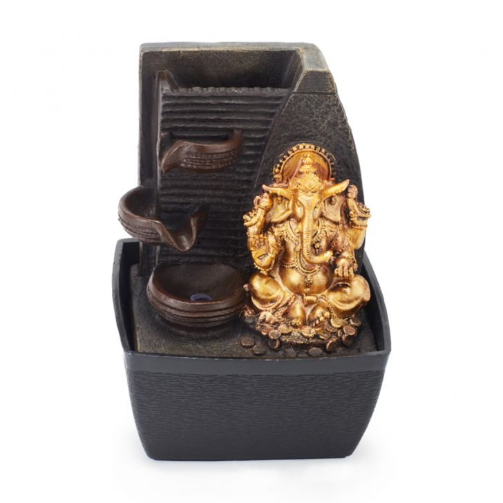 Impression Embellished Ganesha Polyresin Small Fountains in Brown/Gold Colour by Living Essence