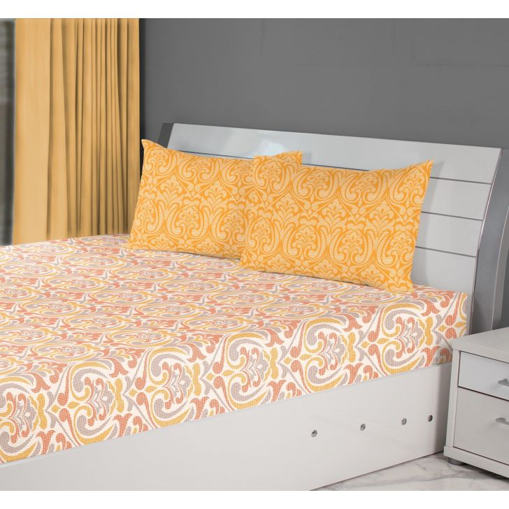 Fiesta Mosaic Cotton Double Bedsheets in Rust Colour by Living Essence