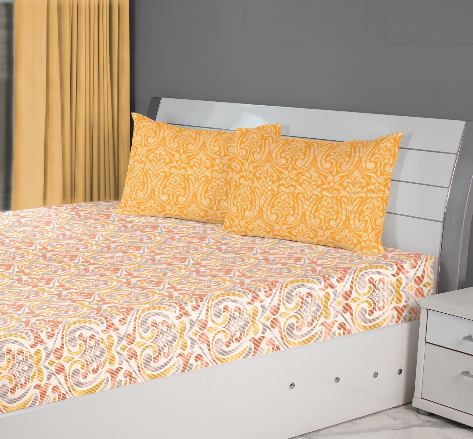 Fiesta Mosaic Double Bedsheet Rust Cotton Double Bedsheets in Rust Colour by Living Essence