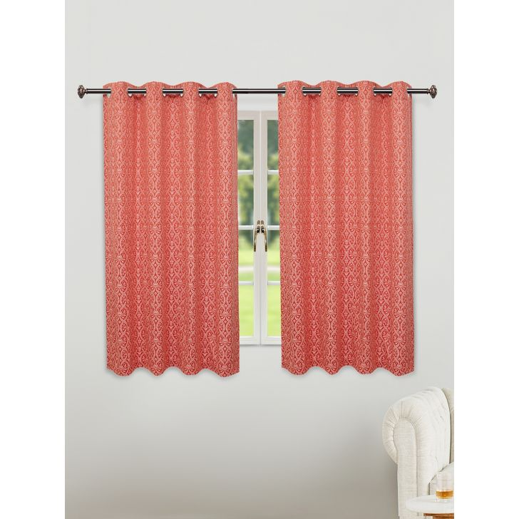 Fiesta Jacquard Set of 2 Cotton Window Curtains in Rust Colour by Living Essence