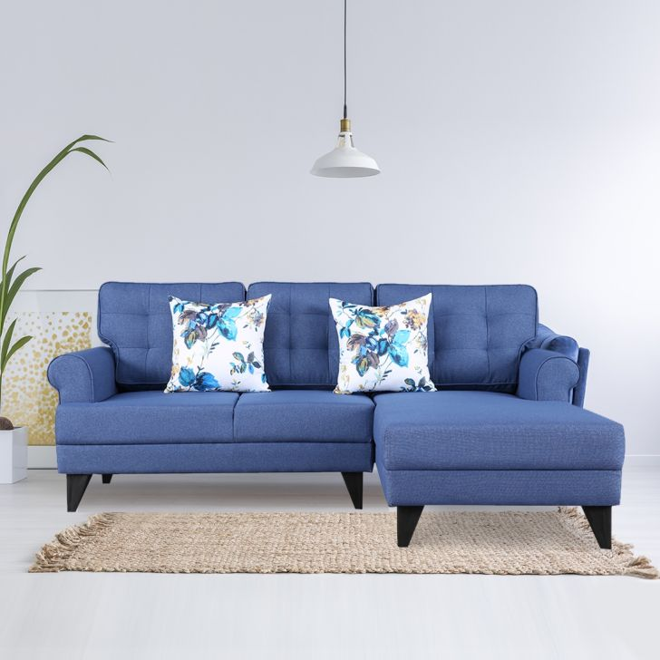 Paddington Fabric Left Hand Side Lounger in Blue Color by HomeTown