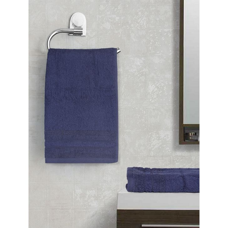 Spaces Bamboo Charcoal Solid 550 Gsm Cotton Mdnigt 2 Pcs Set Hand Towel