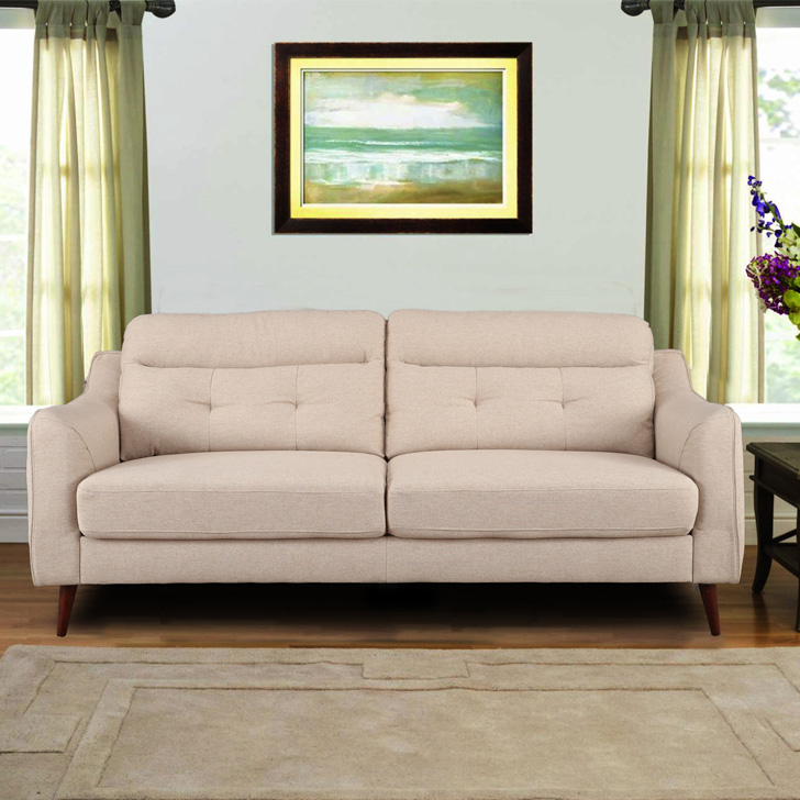 Sheldon Fabric Three Seater Sofa in Beige Colour by HomeTown