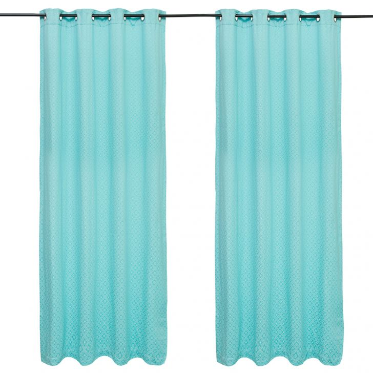Fiesta Jacquard set of 2 Polyester Door Curtains in Turquoise Colour by Living Essence