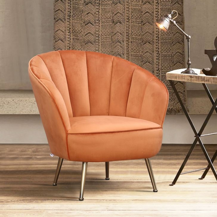 Olena Metal Arm Chair in Rust Colour by HomeTown