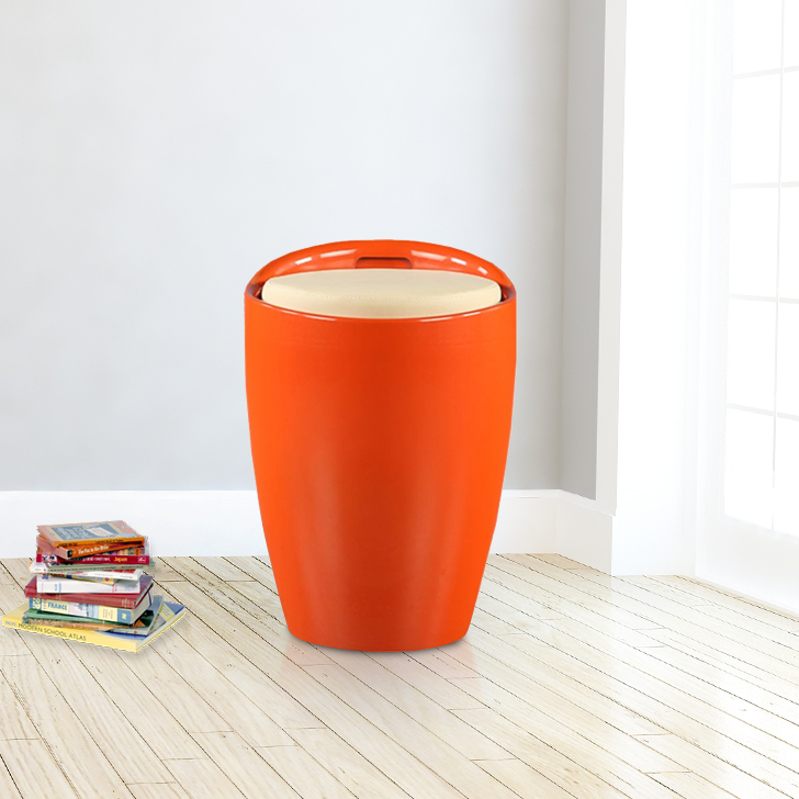 Luna Plastic Stool in Carroty Colour by HomeTown
