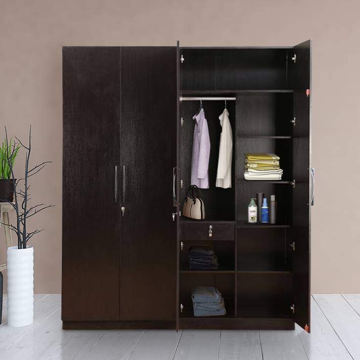 Mozart Engineered Wood Four Door Wardrobe in Wenge Colour by HomeTown