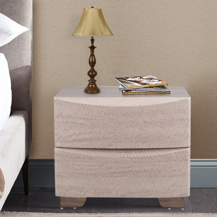Alexandria Engineered Wood Bedside Table in Beige Colour by HomeTown