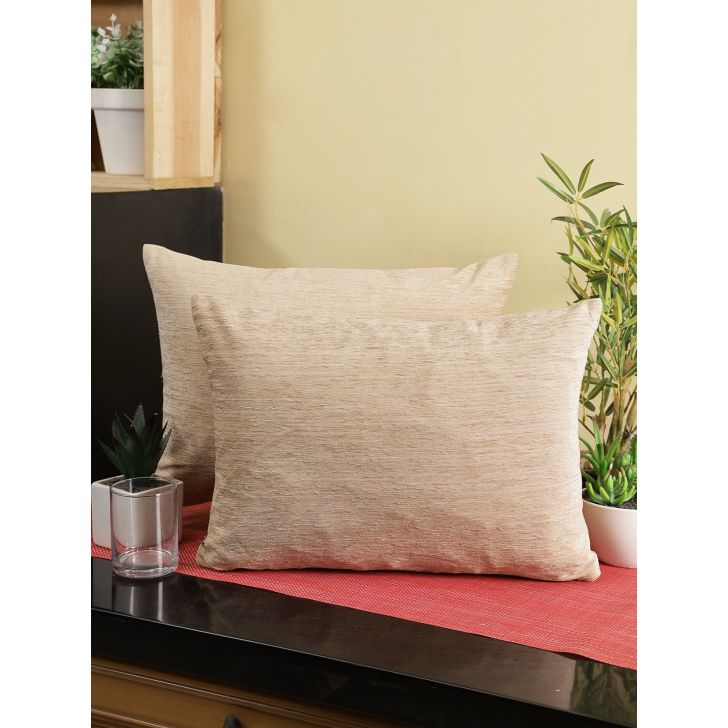 Emilia Set Of 2 Polyester Cushion Cover 40 Cm x 30 Cm in Beige Colour