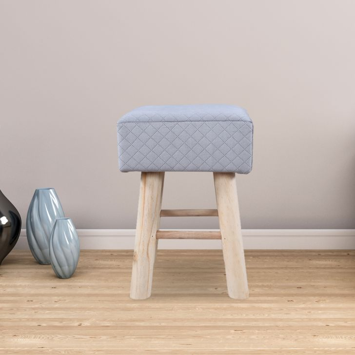 Ella Solid Wood Ottoman in Grey Colour by HomeTown