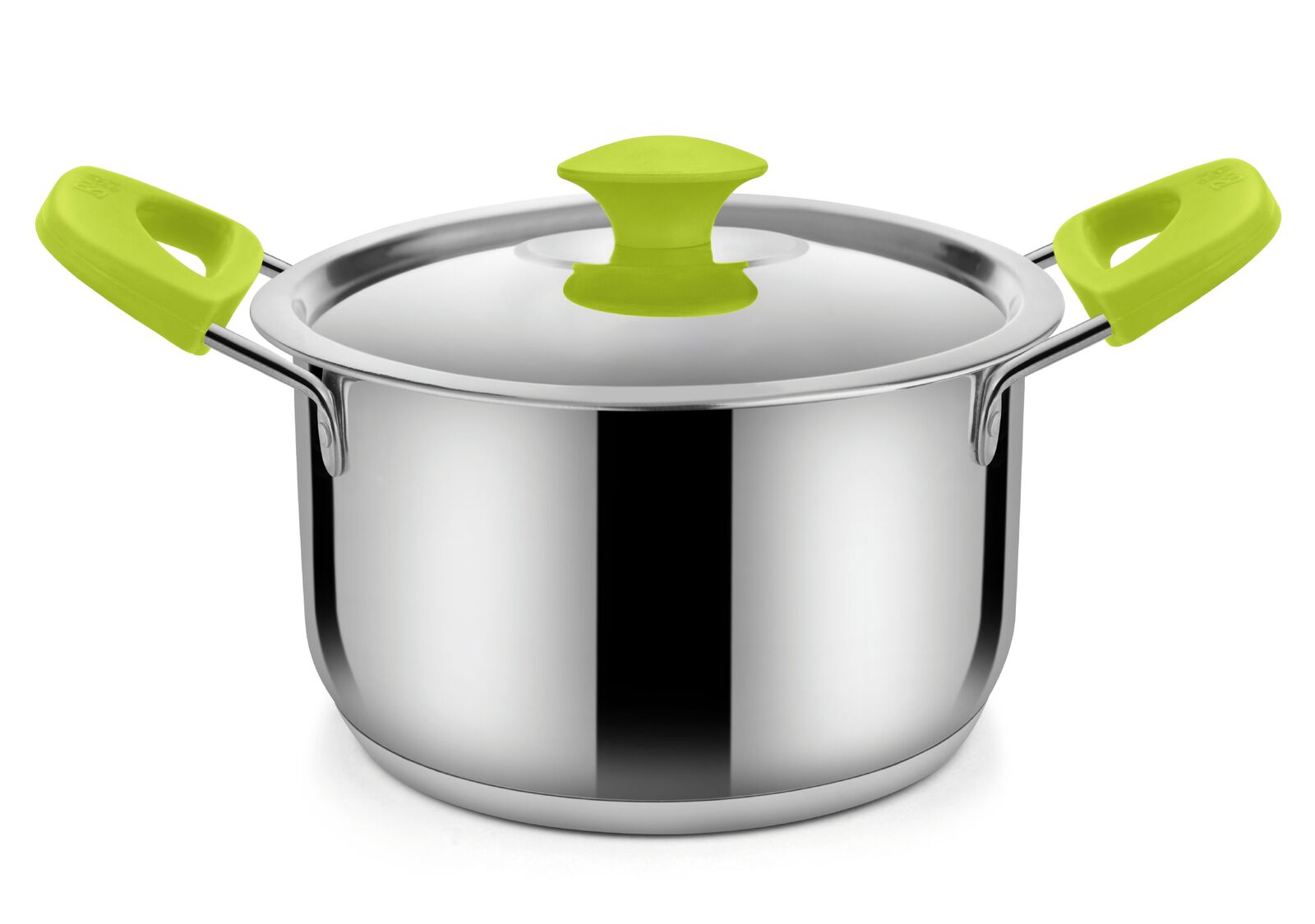 Bonita Oven Round With Steel Lid 2000 Ml Stainless Steel With Silicone Sauce Pans in Green Colour by Bonita