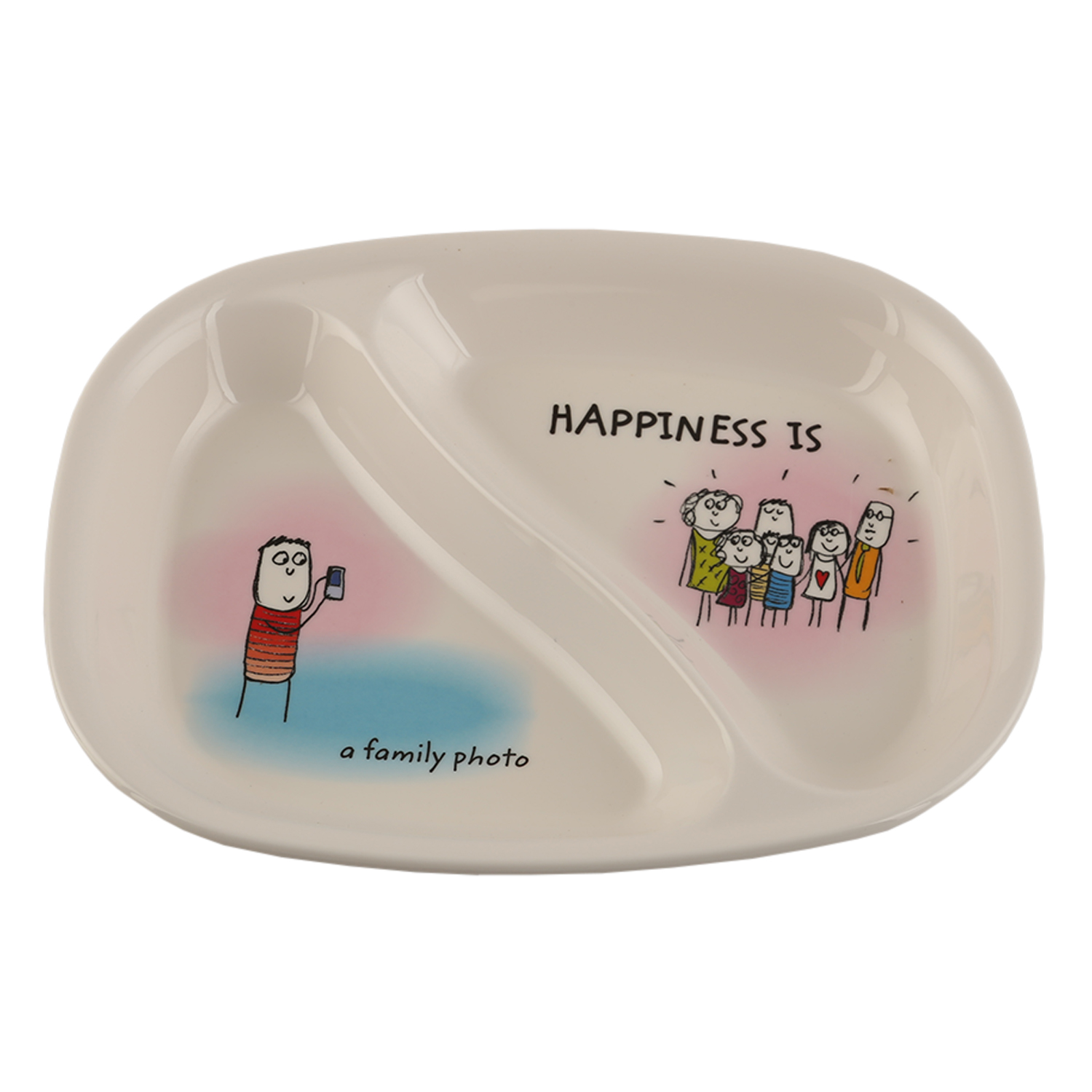 HAPPINESS KI & KA PLATE - Rad Plates in Multicolor Colour by Servewell