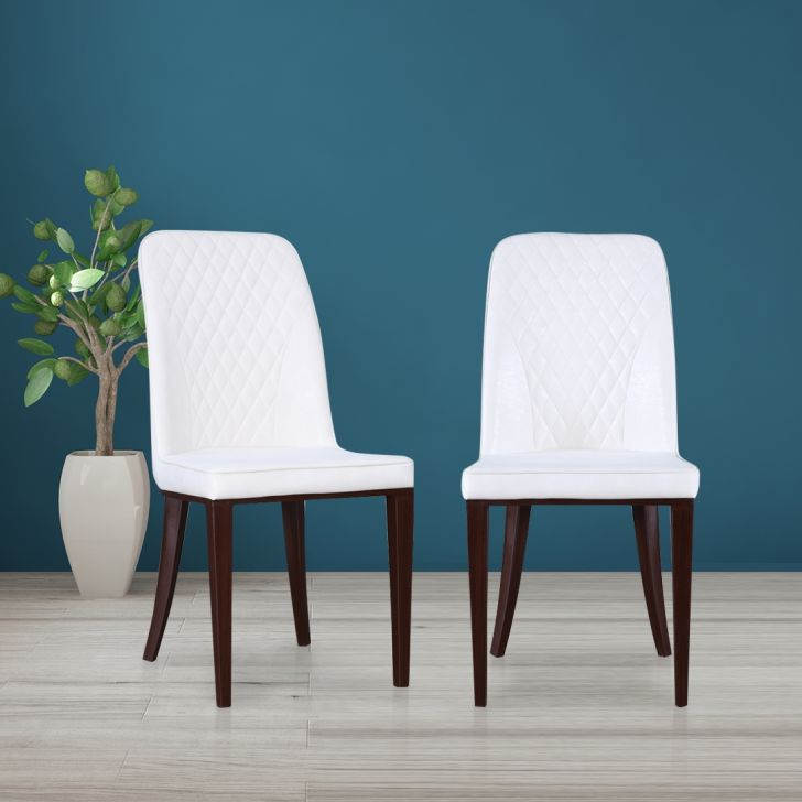 Camron PVC Dining Chair Set of Two in Beige Colour by HomeTown