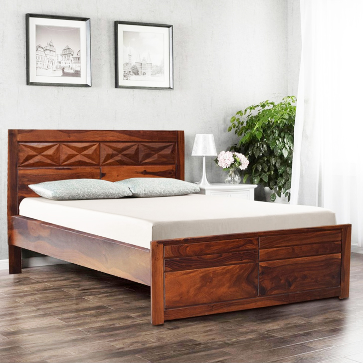 Barcelona Sheesham Wood(Rosewood) Queen Bed in Honey Colour by HomeTown