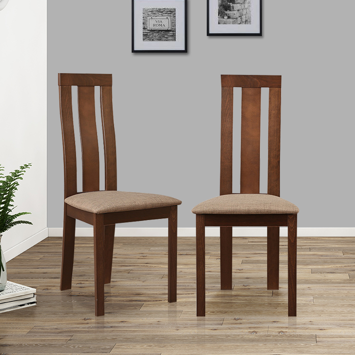 Delton Solid Wood Dining Chair Set of Two in Burn Beech Colour by HomeTown