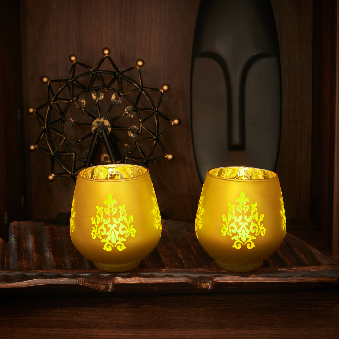 Zahara Set Of 2 Flower Etched Glass Candle Holders in GOLD Colour by Living Essence