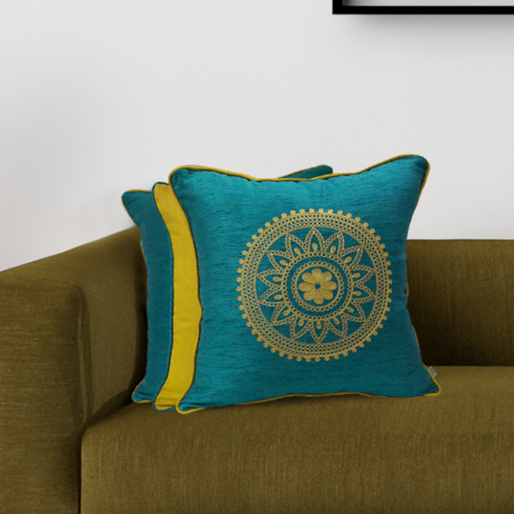 Set Of 3 Cc 16X16 Fiesta Turq Polyester Cushion Cover Sets in Turq Colour by Living Essence