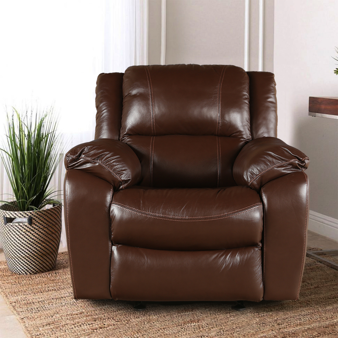 Bristol Half Leather Single Seater Recliner in Brown Colour by HomeTown